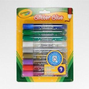 Crayola kimalleliimat, 9 väriä. Vesiohenteisen liiman voi pestä pois iholta ja konepesussa suurimmasta osasta vaatteita.