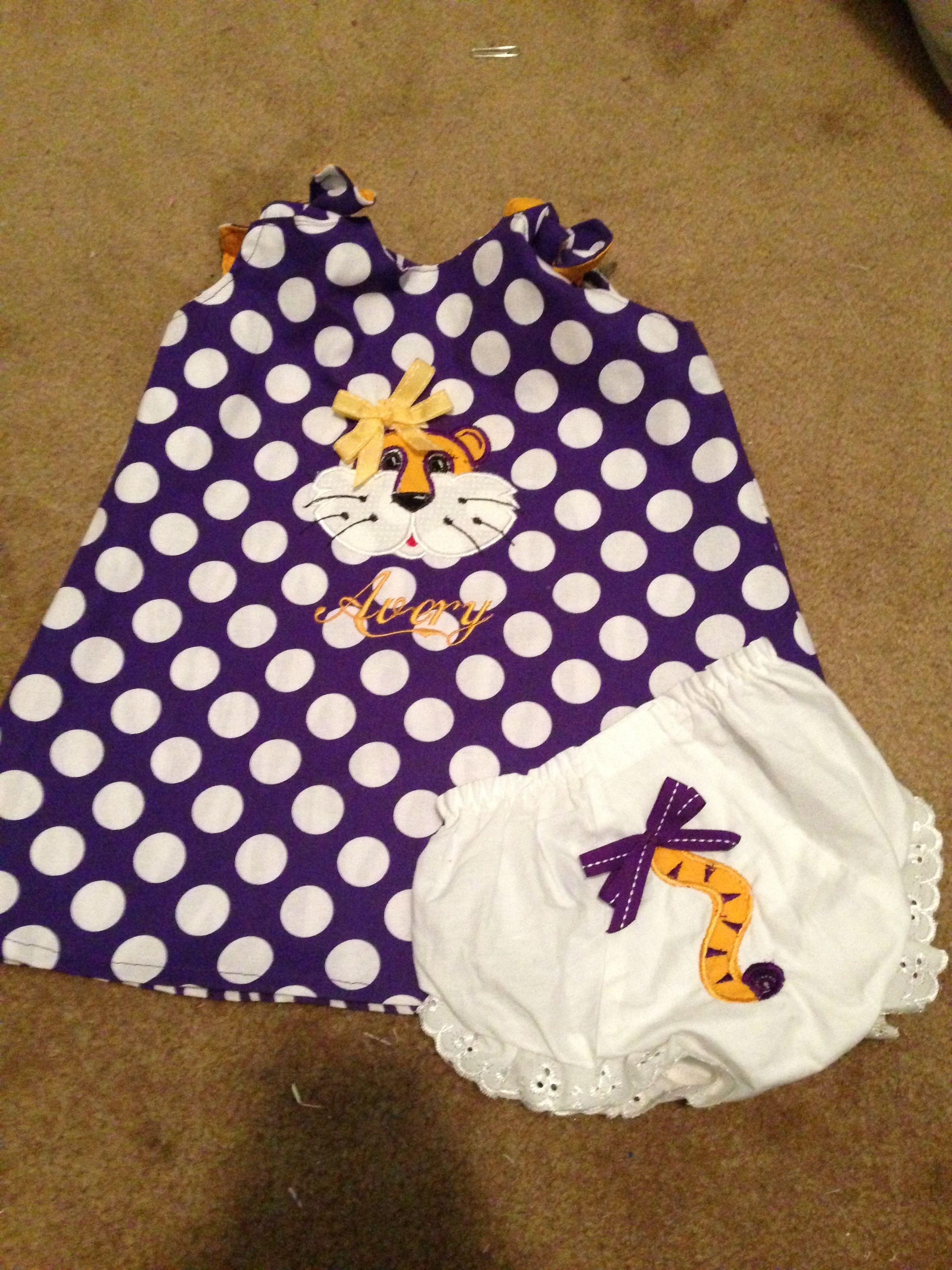 f37ec4a973cb2 LSU reversible dress | Grandbabies to Spoil Ideas | Baby boutique ...