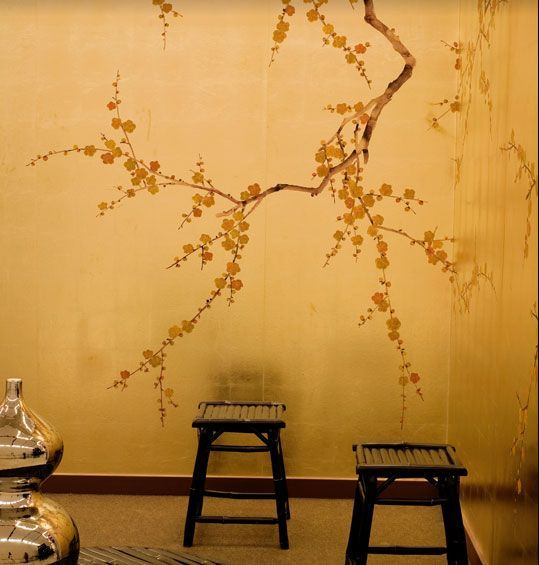 Gold Cherry Blossom Wallpaper Bedroom