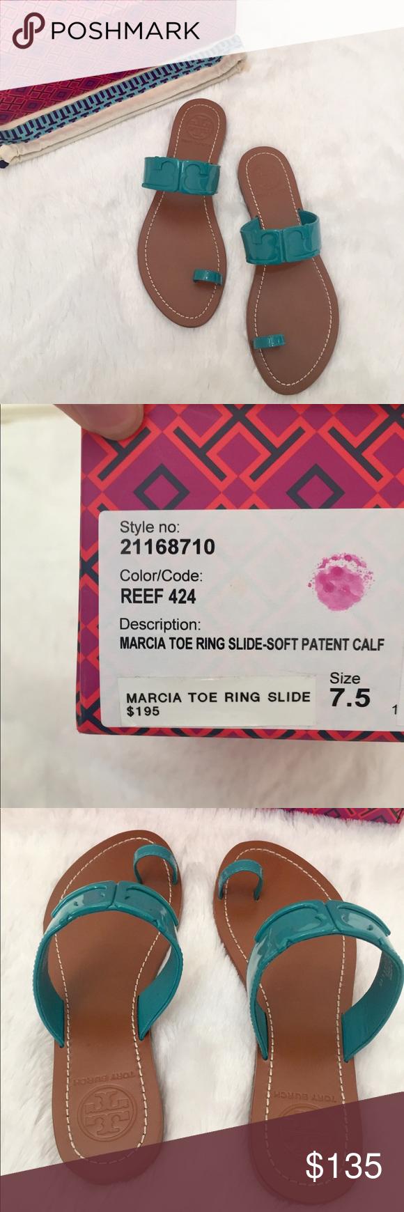 3dde3f5cb NWT✨Tory Burch Marcia Toe Ring Slides NWT