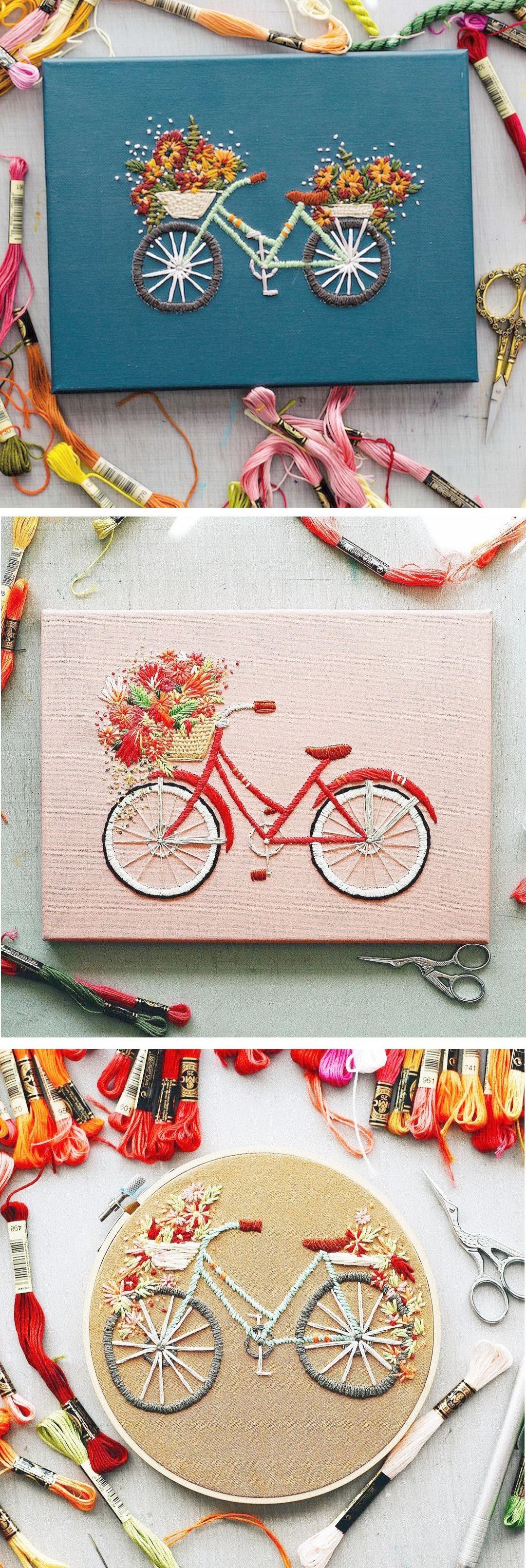 Modern Embroidery By Truefort - Bicycle Embroidery - Embroidery Ideas