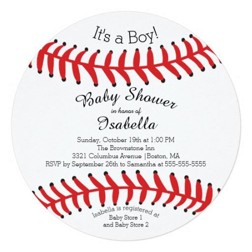 Modern Itu0027s A Boy Baseball Baby Shower Invitations Personalized Announcement