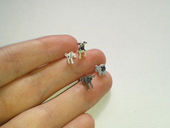 Teensy weensy pup art!  Extreme tiny and cute puppies  Miniatures OOAK by Ilovemicro