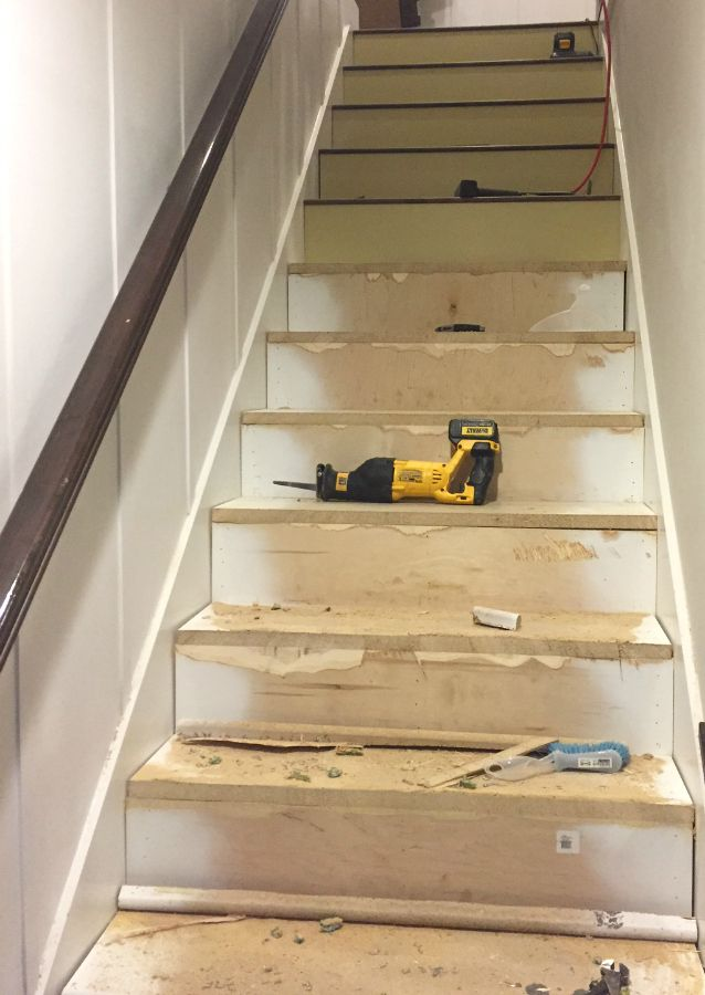 Stairway Makeover Swapping Carpet For Laminate The Lilypad   Replacing Old Basement Stairs   Stair Railing   Staircase Remodel   Staircase Railings   Stair Tread   Stair Risers
