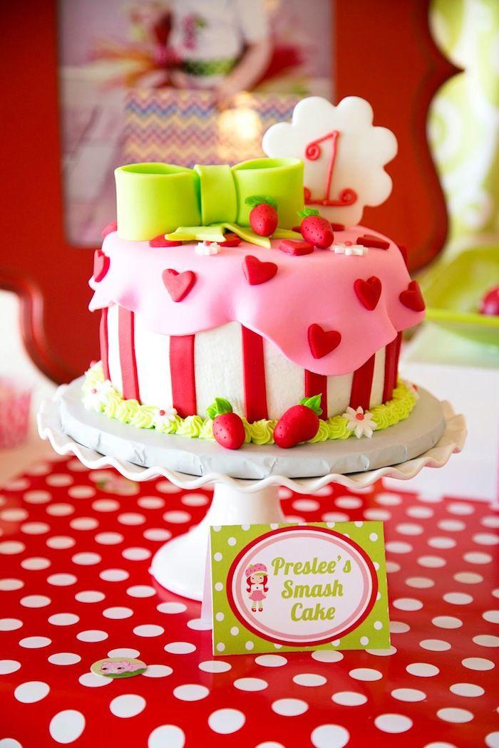 Remarkable Strawberry Shortcake Themed First Birthday Party Ideas Decor Personalised Birthday Cards Veneteletsinfo