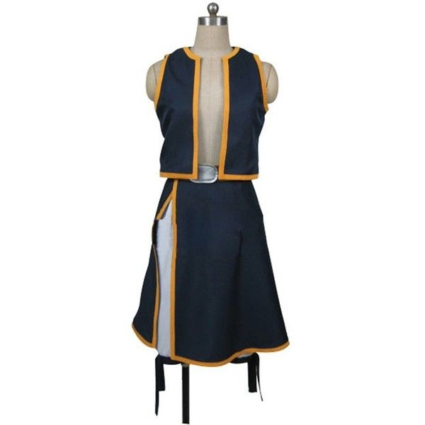 Fairy Tail Natsu Dragneel Skirt Cosplay Costume (€40) ❤ liked on Polyvore featuring costumes, cosplay halloween costumes, blue fairy costume, fairy tail costumes, role play costumes and blue halloween costume