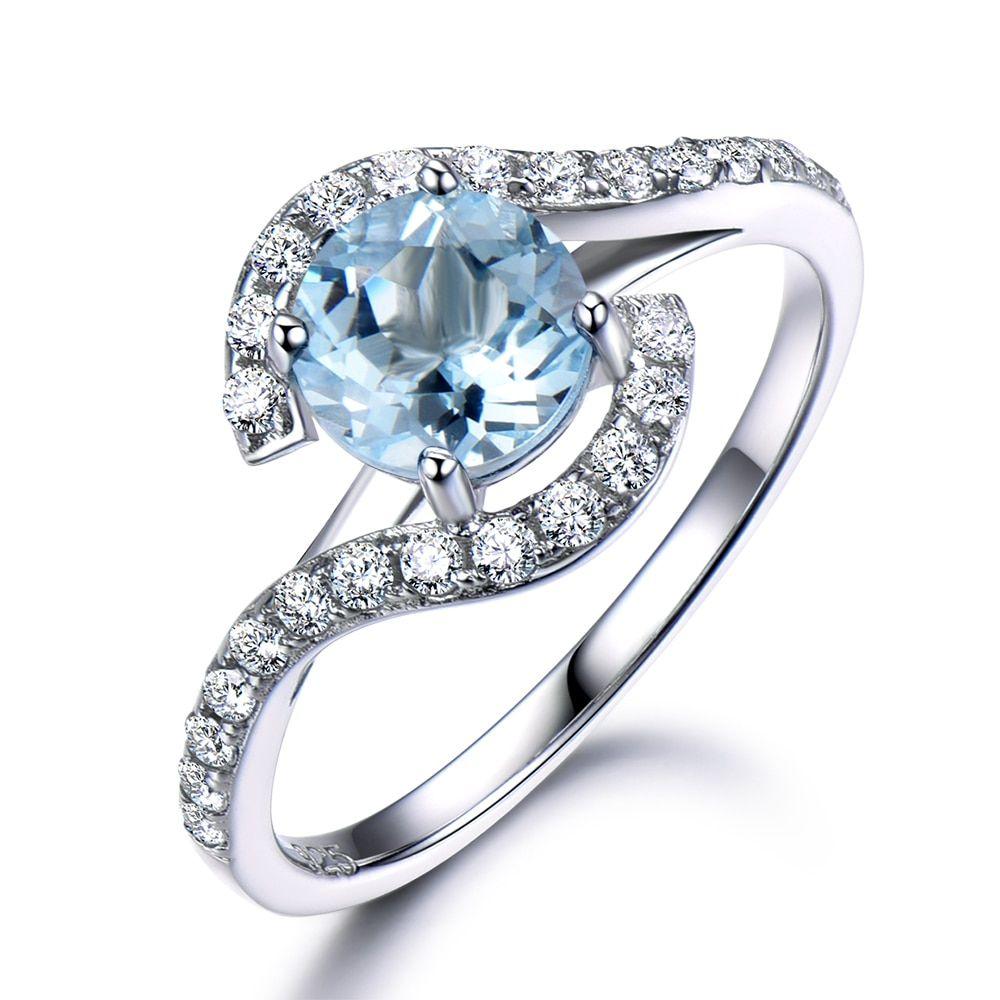 Art Halo Round Aquamarine Engagement Ring White Gold Plated Silver Ring,aqr005 #aquamarineengagementring
