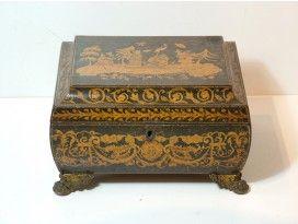 Bombe-shaped Regency Pen-work Sewing Box; made around 1830.