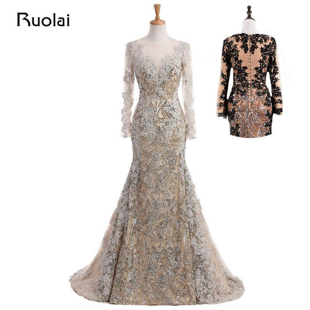 Real Photo Unique Mermaid Evening Dress Long Sleeves ...