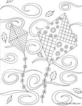 Kites Coloring Page Fall Coloring Page Windy Coloring Page