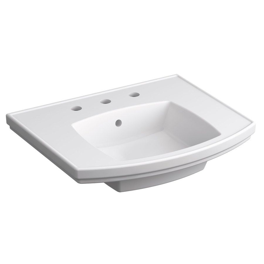 KOHLER Elliston 19.87-in L x 23.75-in W White Vitreous China Rectangular Pedestal Sink Top