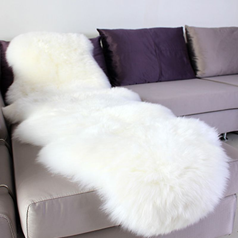 Sheepskin Rug Chair Cover Pad Carpet Plain Skin Fur Fluffy Area Rugs For Bedroom Faux