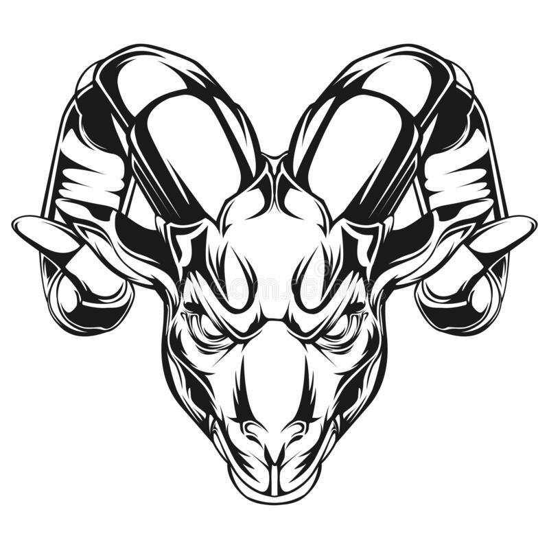 Goat Head Vector Illustration Vector Design Angry Goat Black Andwhite Royalty Free Stock Photos Vector Illustration Illustration Vector Illustration Design