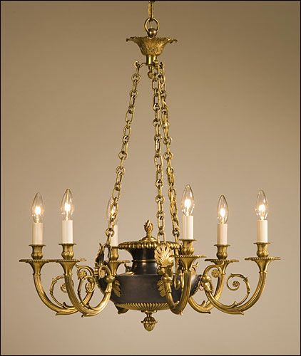 Traditional Formality Heralding Bounty Brass Chandelier Antique