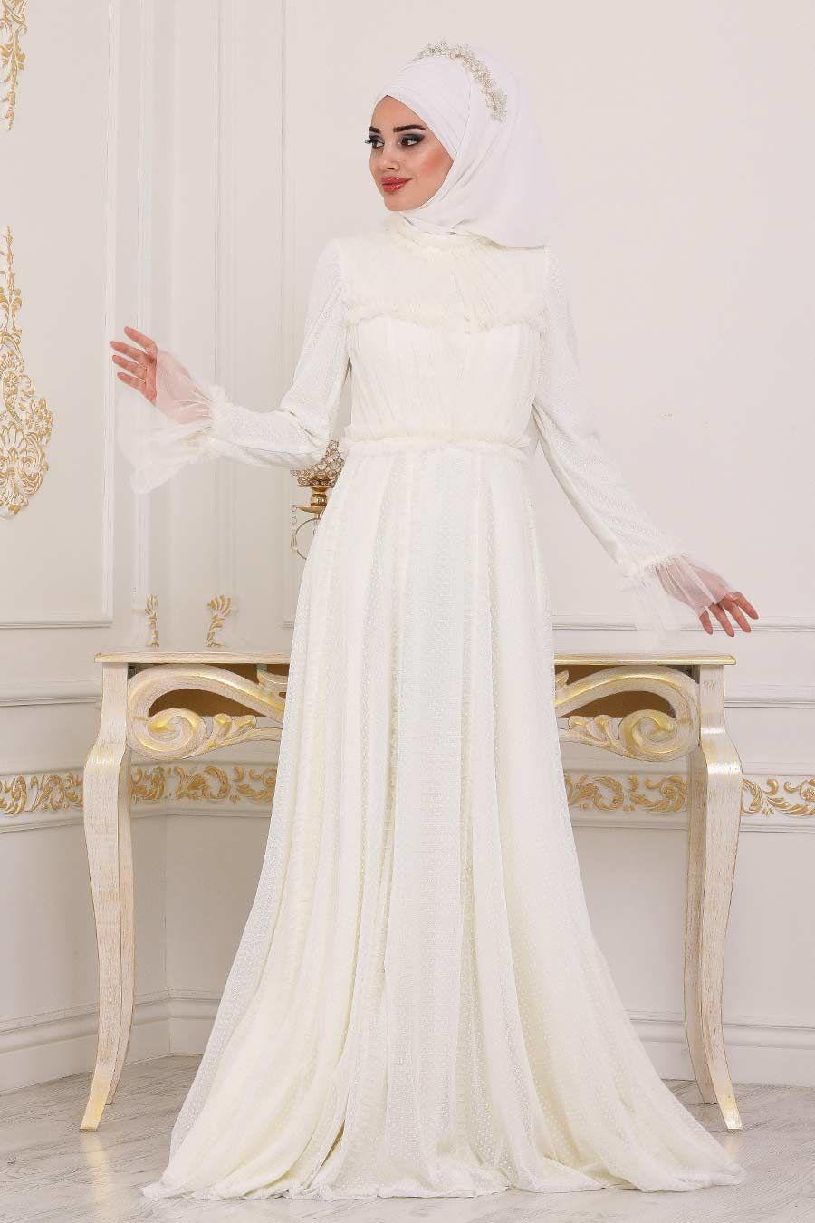 Tesetturlu Abiye Elbise Volan Kol Ekru Tesettur Abiye Elbise 39850e Tesetturisland Com Elbise Moda Stilleri Elbiseler