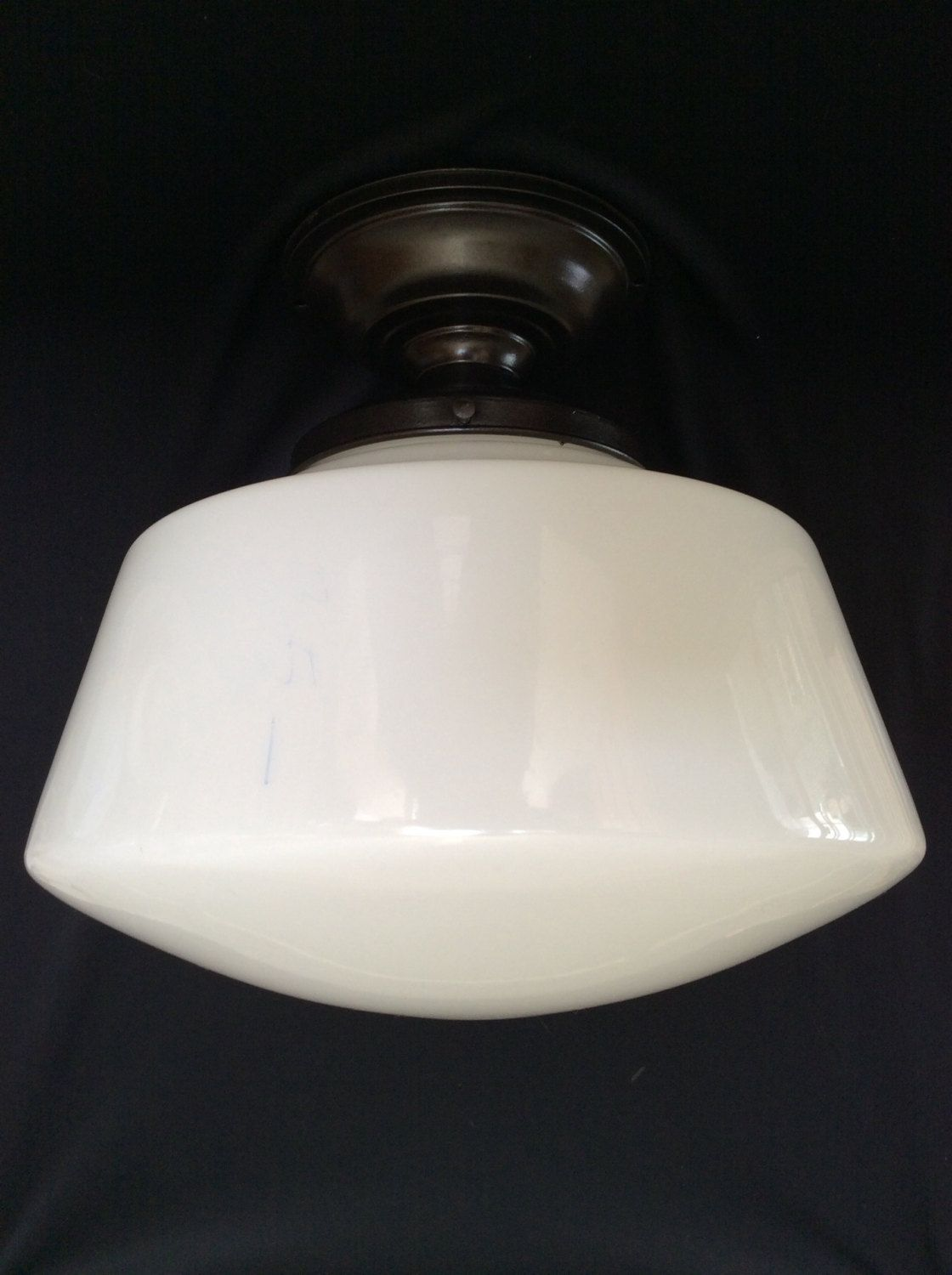 Vintage large school house industrial ceiling light fixtures vintage large school house industrial ceiling light fixtures milkglass 1920s 1 of 2 arubaitofo Gallery