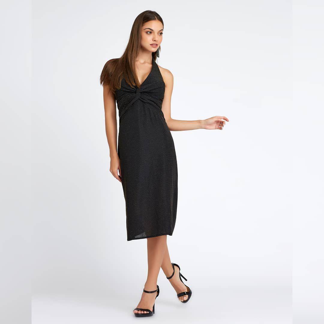 2dfaaf4ce Vestido longuete frente única, com detalhe de nó e fendas laterais em Malha  Lurex Black