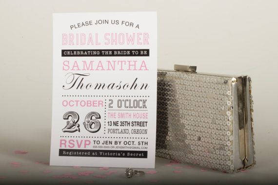 Typography Bridal Shower Invitation- DIY Digital Printable File - Wedding Couple Bachelorette Hen $15.00
