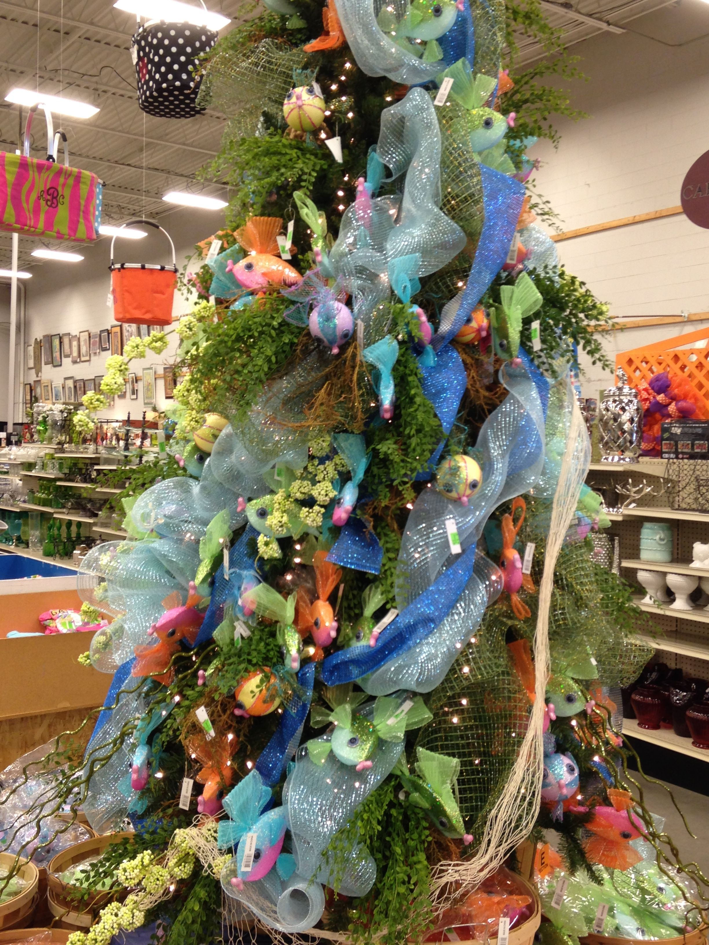 the fish tree with glittery mesh ribbon and new flashy fish