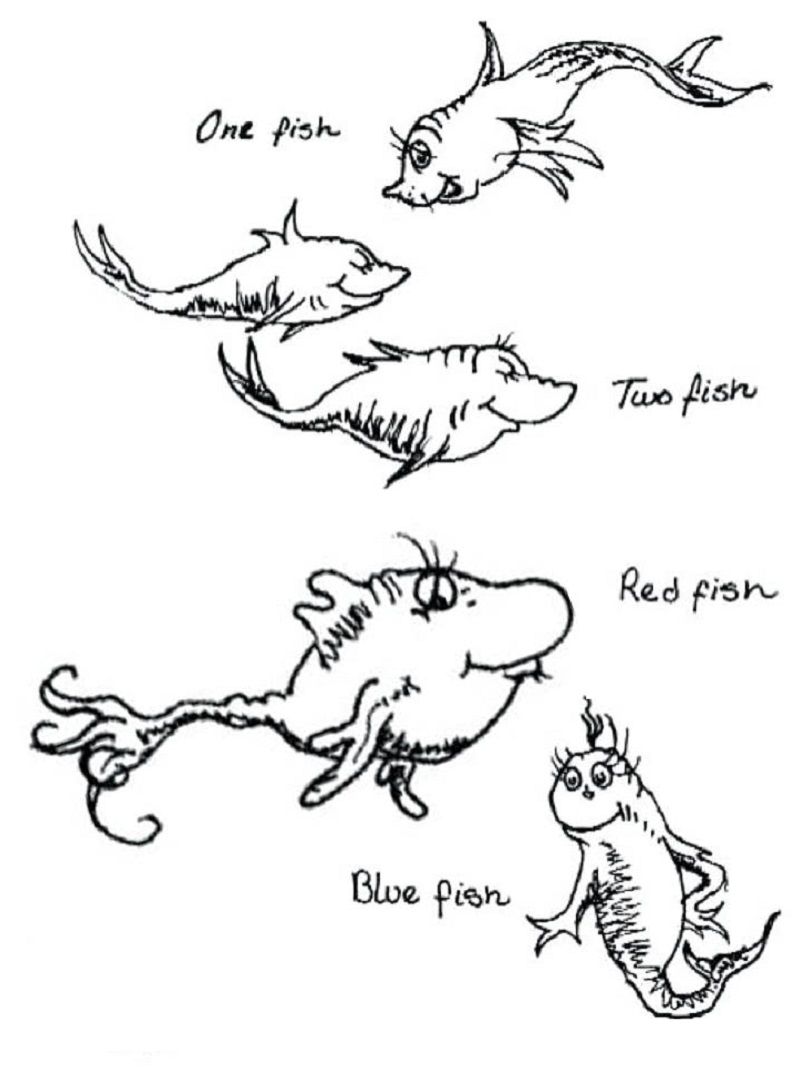 One Fish Two Fish Coloring Page Red Fish Blue Fish Dr Seuss Coloring Pages Fish Coloring Page Red Fish Blue Fish