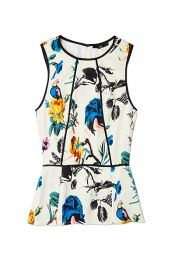 Bird & Floral Silk Print Peplum Top by Tibi
