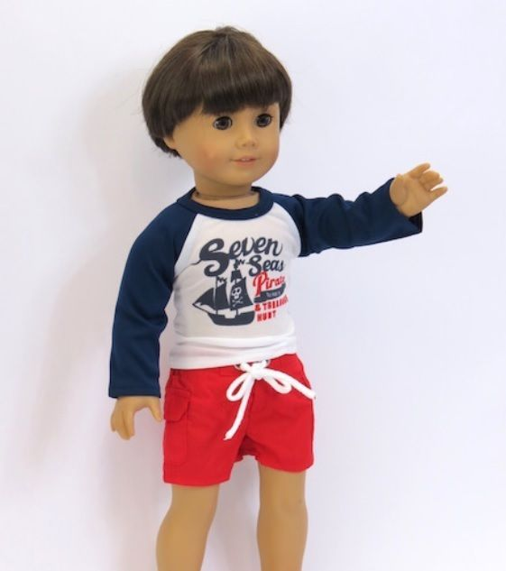 "Rash Guard Pirate T Shirt Red Trunk Shorts Set Fits 18"" American Girl Boy Doll  #Unbranded"