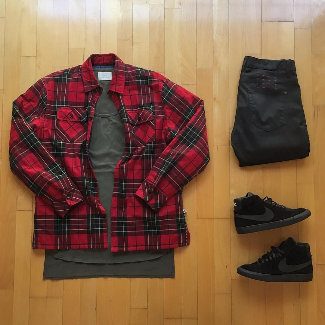 Red plaid flannel jacket  Outfit grid  Red checked shirt  ClothesShoes u Style  Pinterest