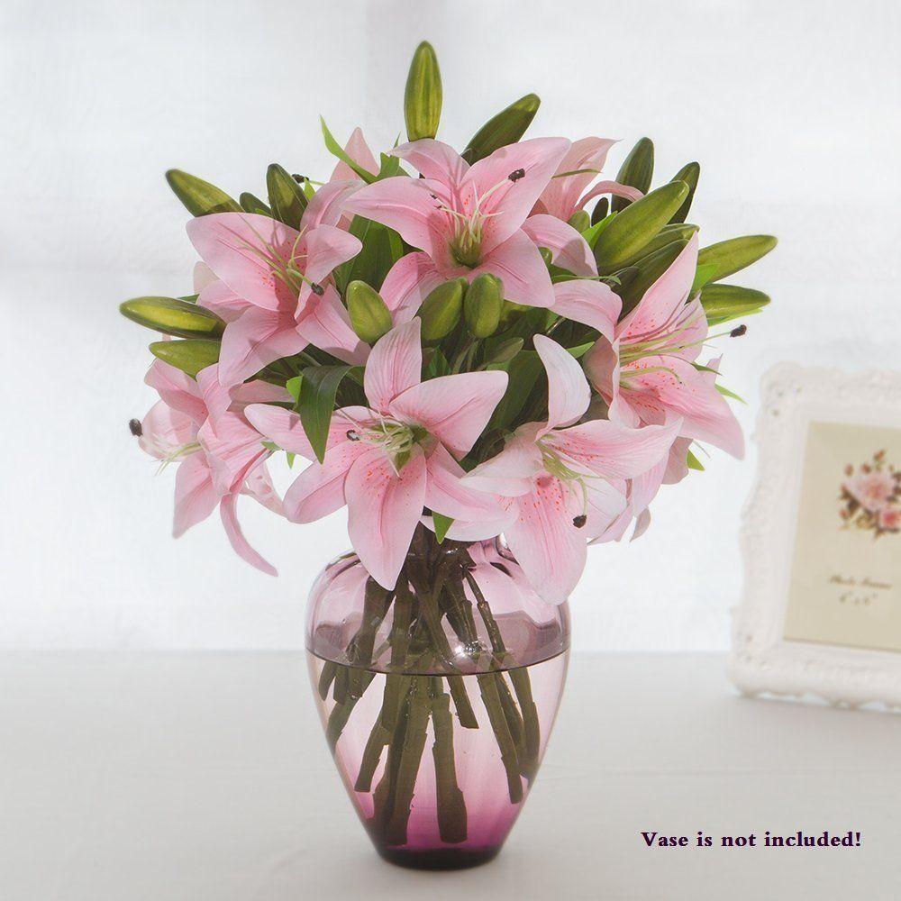 Artificial tiger lilies bouquet 3 heads new pu flower for home artificial tiger lilies bouquet 3 heads new pu flower for home wedding floral decorpink izmirmasajfo