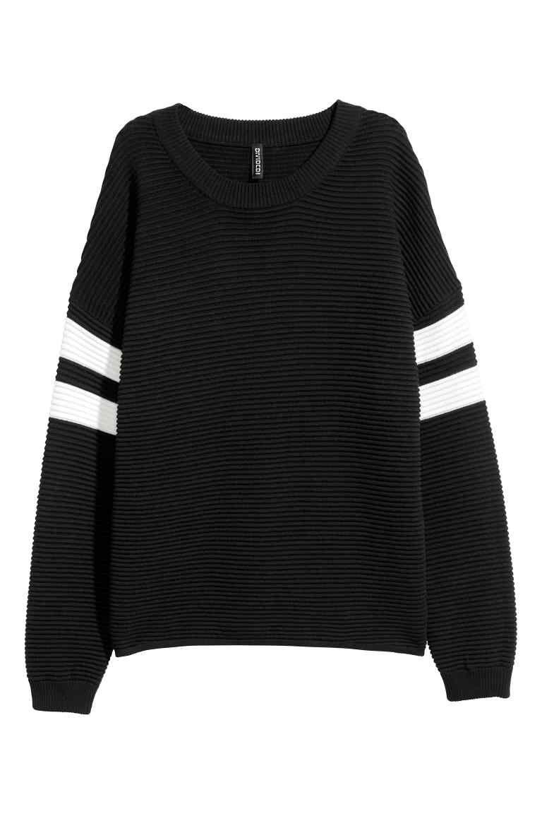 Ribgebreide trui   Black sweaters, Sweaters, Fashion