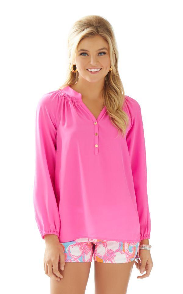 53267df6662f04 Elsa Top - Lilly Pulitzer Pop Pink