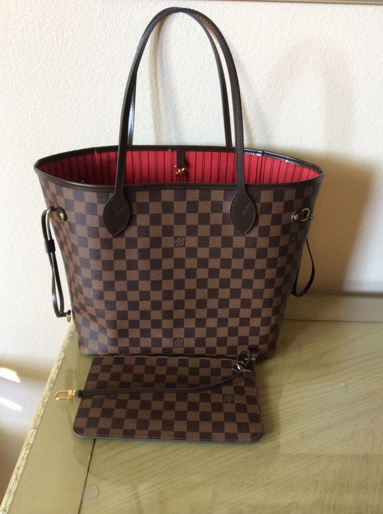 new authentic neverfull nm mm damier ebene n41358