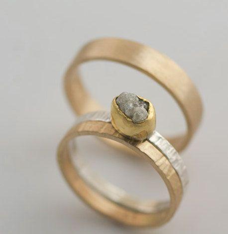 Hand Forged Rough Diamond 22k Gold Ring by VKDesignsJewelry