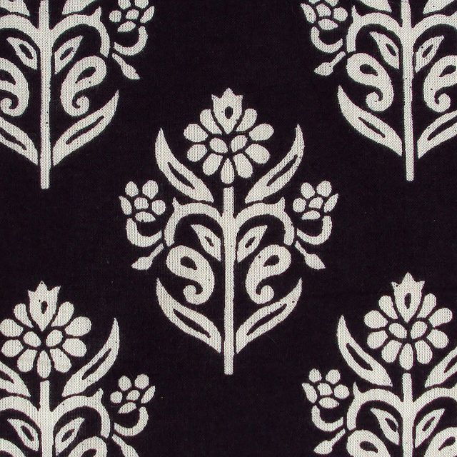 Indian Block Print Floral Cotton Fabric Black And White Motifs