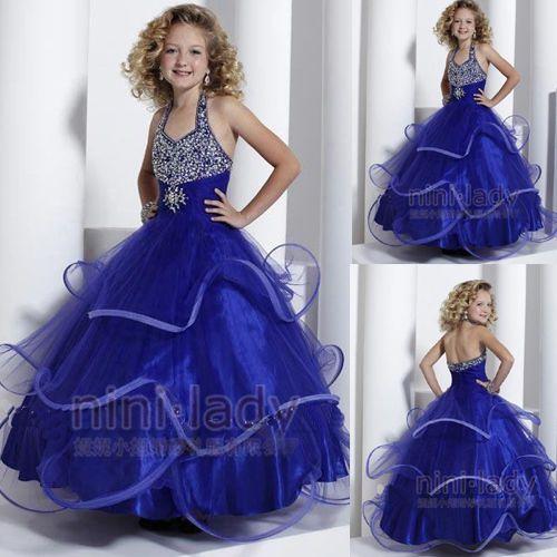 9ab589675f8 Bleu-communion-Robe-de-princesse-fille-mariage-robe-demoiselle-d-honneur- enfant