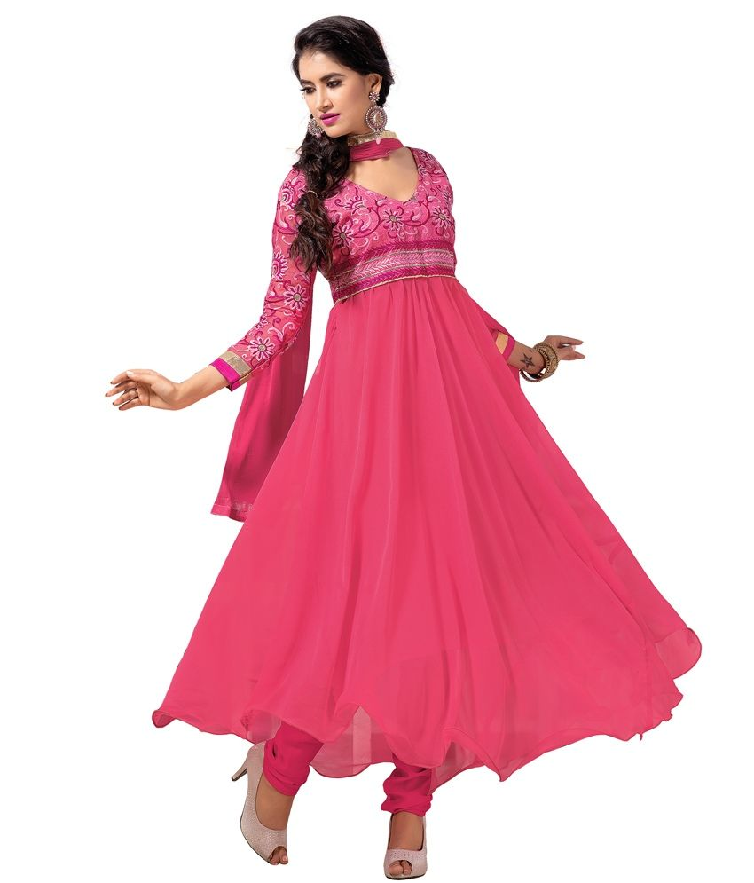 north indian dress casual  haven fashion pink georgette