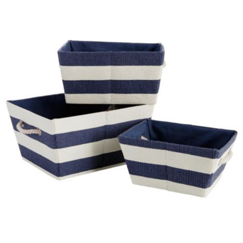 Buy Nautical Set Of 3 Canvas Baskets from our Storage Baskets   Bags range  at Tesco direct  We stock a great range of products at everyday prices. nautical baskets   Google Search   Nautical nursery   Pinterest