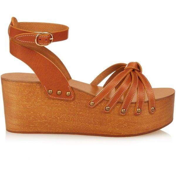 Isabel Marant Zia wooden flatform sandals ($130) ❤ liked on Polyvore featuring shoes, sandals, platform, wood sandals, crochet sandals, wooden wedge sandals, wooden platform shoes and wood platform sandals