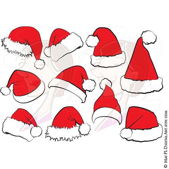 Santa Claus Hat Clip Art Christmas Santa Hat Clipart Xmas Santas Hat Red Santa Costume Graphics Scrapb Santa Hat Clipart Christmas Cards Handmade Christmas Art