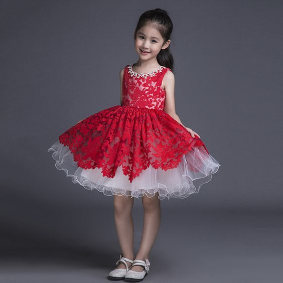 Red Lace Kids Ball Gown Little Girls Pageant Dress Short Puffy ...