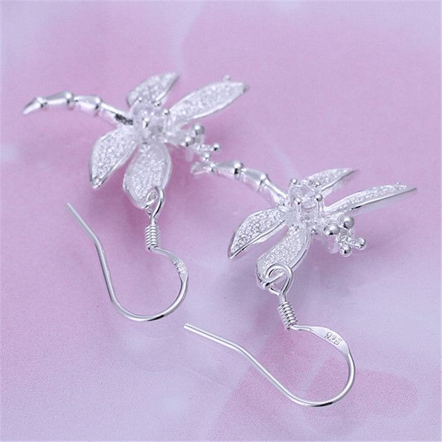 Statement Earrings Silver Plated Dragonfly Shaped Inlay Cubic Zirocnia Drop Dangle Earring for Women Party