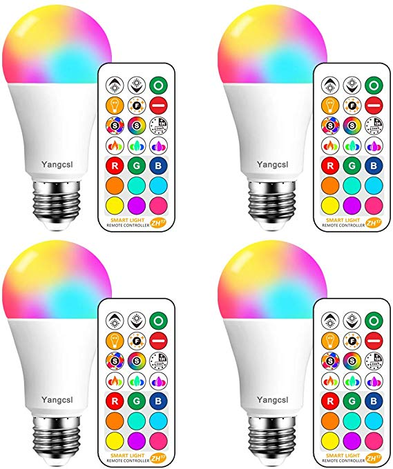 Yangcsl Led Light Bulbs 75w Equivalent Rgb Color Changing Light Bulb 6 Moods Memory Sync Color Changing Light Bulb Color Changing Lights Led Light Bulbs