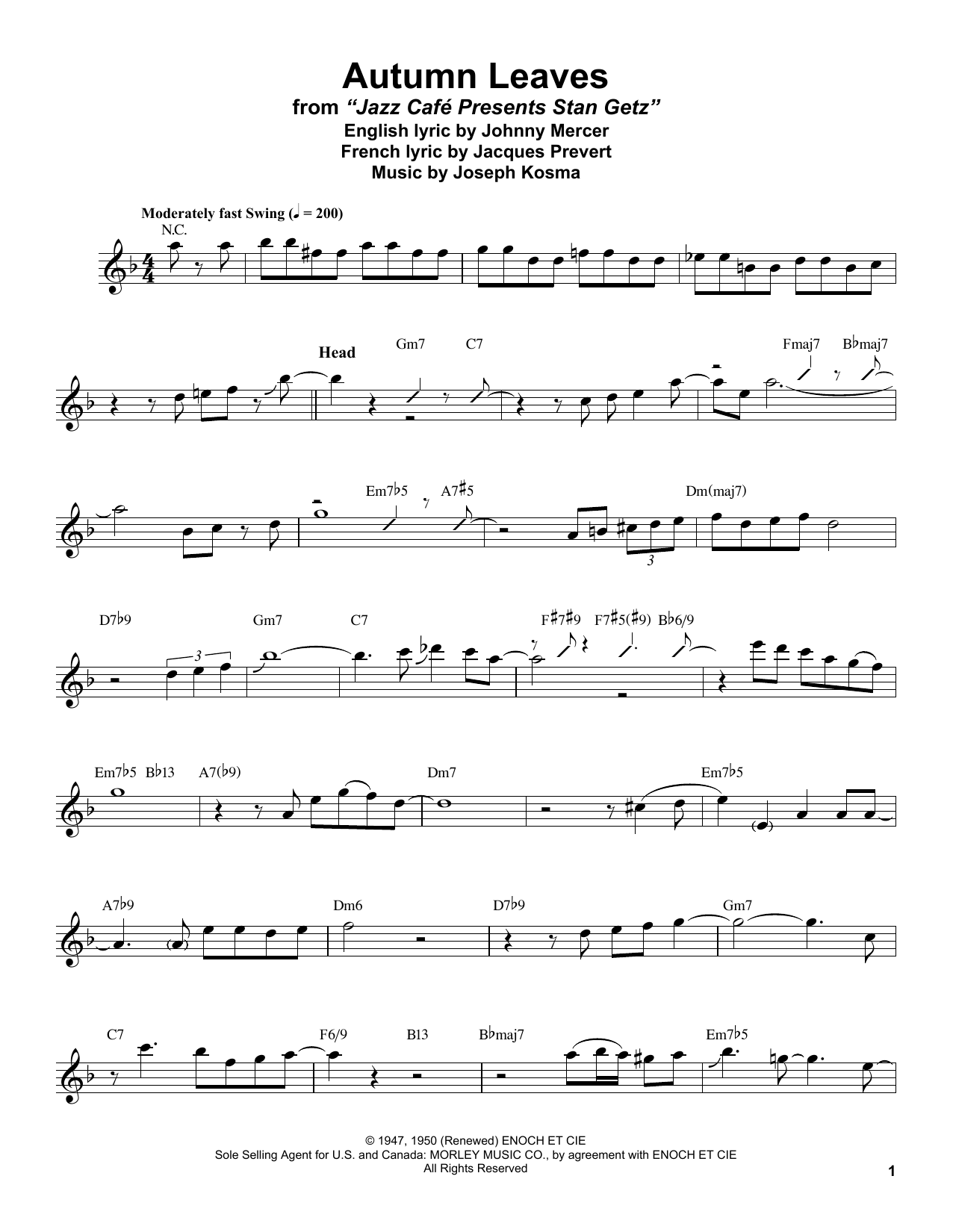 Stan Getz Autumn Leaves Sheet Music Notes Transcription Music