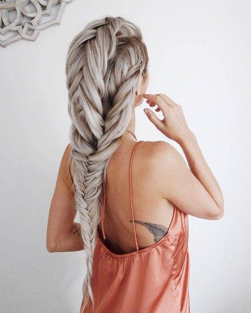 Hair Accessory Tumblr Silver Hair Long Hair Hairstyles Tattoo Braid Slip Dress Long Hair Styles Hair Styles Braided Hairstyles