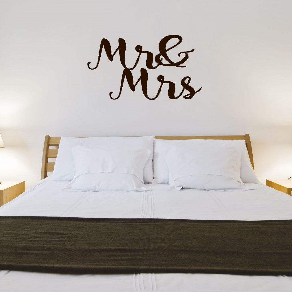 Mr and Mrs Wall Decal - Vinyl Lettering Wall Words Wedding Decal ...