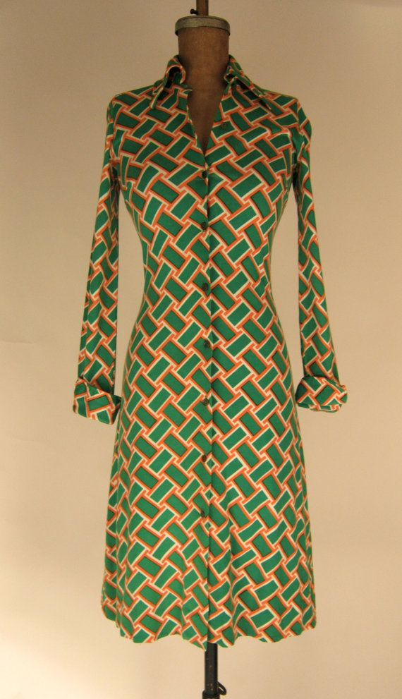 Vintage 1970's Diane Von Furstenberg Green x Orange Geometric Print Shirt Dress Size XS