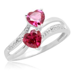 10k White Gold Heart Shaped Created Ruby With Diamond Heart Ring Ring Ring Diamond Heart Ring Heart Ring Beautiful Jewelry