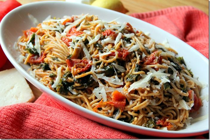 Kale and Sun-Dried Tomato Whole-Wheat Pasta