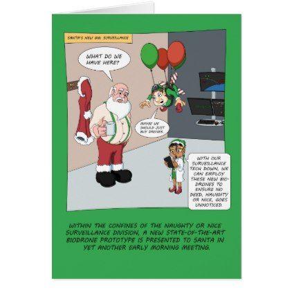 santa\u0027s new gig surveillance card - christmas cards merry xmas
