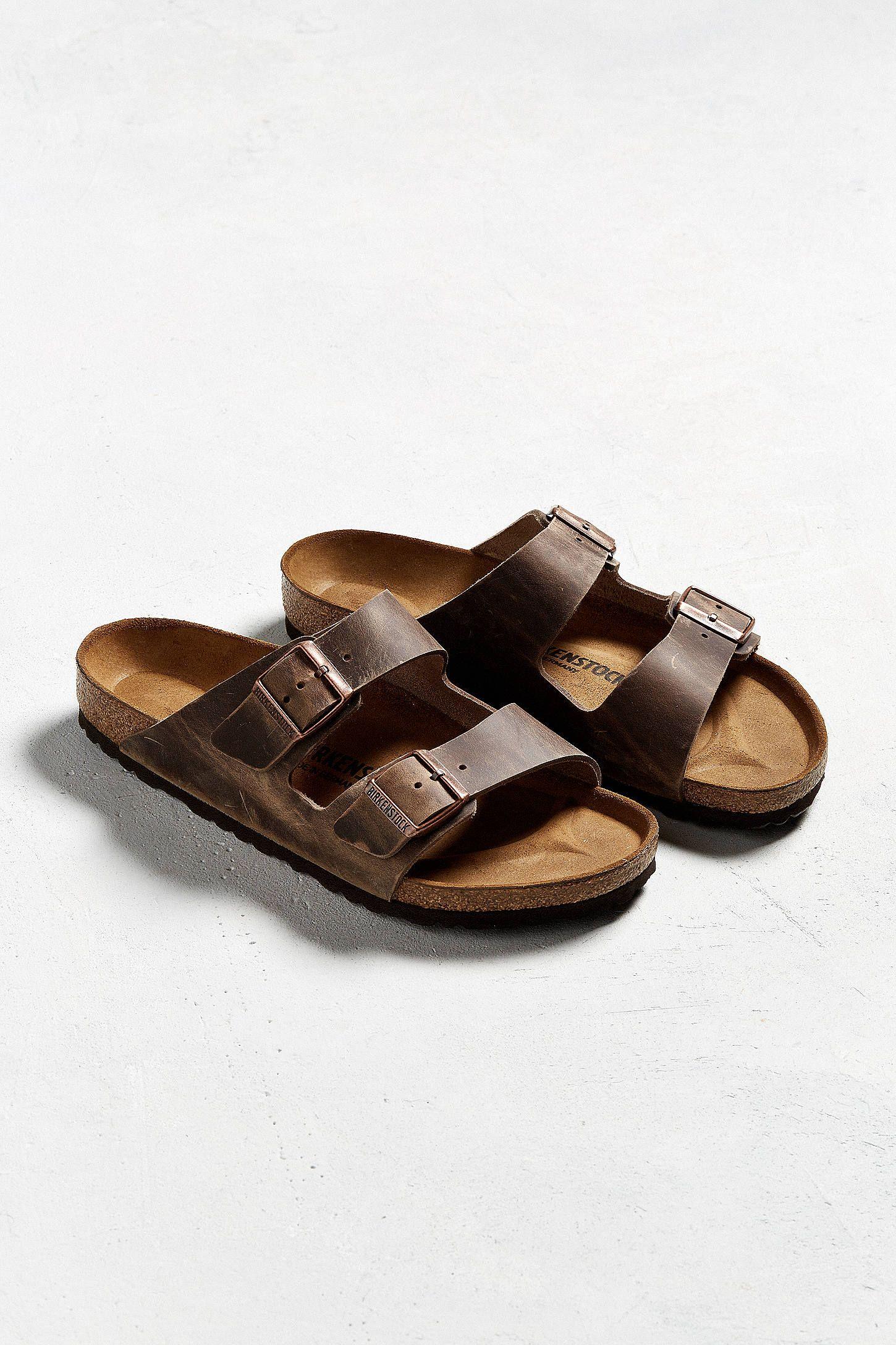 Slide View  1  Birkenstock Arizona Leather Core Sandal Mens Slide Sandals 2a6af77d3ef4