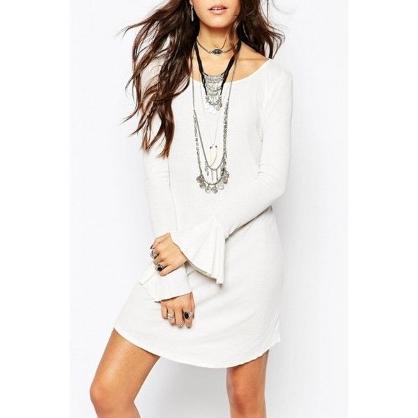 Chic White Flare Sleeve Backless Dress (21 NZD) ❤ liked on Polyvore featuring dresses, white, flared sleeve dress, white backless dress, white day dress, round neck dress and backless dress